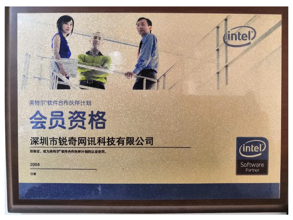 intel软件合作伙伴证书